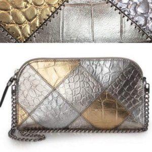 Eric Javits Croc Embossed Leather Patchwork Bag